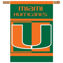 BSI Products Outdoor Decorative Miami Hurricanes 2-Sided 28 X 40 Banner with Pole Sleeve