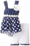 Little Lass Little Girls' Bike Short Set Daisy Dot Print Chiffon, Navy, 3T