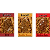 Larvets Sampler Gift Pack- BBQ, Cheddar Cheese, & Mexican Spice 1.9g each, Sampler Gift Pack of 3