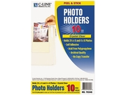 C-line 70346 Peel & Stick Photo Holders for 3x5 & 4 x 6 Photos, 4-3/8 x 6-1/2, Clear, 10/Pack