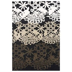 Michael Anthony Furniture Hand Tufted 8x10 Black Floral Wool Blend Area Rug