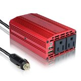 BESTEK® 300W Dual 110V AC Outlets Power Inverter Car DC 12V to 110V AC Adapter Charger with Dual USB Charging Ports (3.1A Max)for Smartphones and Tablets