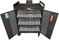 The Bretford NETBOOK42 PUSD 42 Slot Netbook Cart is designed for a large scale portability of netbooks with built in power strips to charge all 42 netbooks