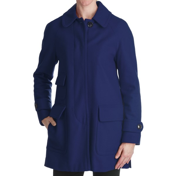 Ellen Tracy Outerwear Fly Front Stadium Coat - Wool Blend (For Women)