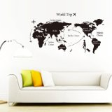 World Map Consists Of Words -Vinyl Wall Lettering Stickers Quotes And Sayings Home Art Decor Decal