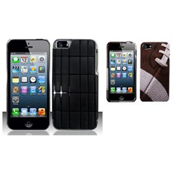 Combo pack For iPhone 5 (AT&T/Sprint/Verizon/Cricket) Aluminum Leather Feel - Black APL And MYBAT Fo