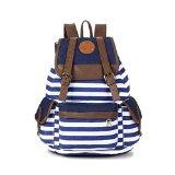 Wowlife Unisex Fashionable Canvas Backpack School Bag Super Cute Stripe School College Laptop Bag for Teens Girls Boys Students (Blue)
