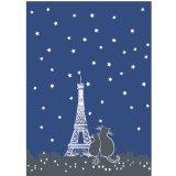 Rue Montmartre, Set of 2, Paris La Nuit (Midnight Blue/black), Paris Cats & Eiffel Tower Printed French Kitchen Towels