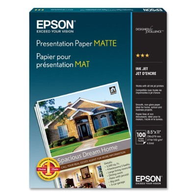 Epson S041062 Photo Paper - Letter A Size (8.5 In X 11 In) - 105 G/m2 - 100 Sheet(s) - For Stylus Pro 38xx  Workforce 1100  610  Wf-2520  2530  2540  3540  Work
