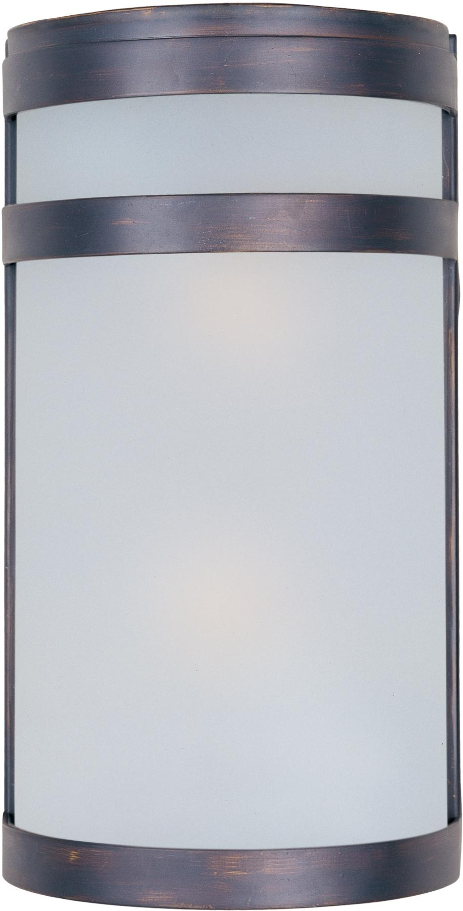 Maxim 5002FTOI Arc 2-Light Outdoor Wall Lantern in Oil Rubbed Bronze with Frosted glass.