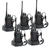 5 Pack BaoFeng BF-888S Long Range UHF 400-470 MHz 5W CTCSS DCS Portable Handheld 2-way Ham Radio with Original Earpiece *5 pcs   Baofeng Programming Cable (Support WIN7,64 Bit)*