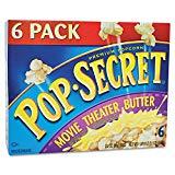 Pop Secret 57706 Microwave Popcorn, Movie Theater Butter, 3.2oz Bags, 6/Box