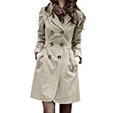 FINEJO Women's Trench Charm Double-Breasted Jacket (Asian M(US S), Brown)