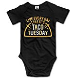 Unisex Live Every Day Like It's Taco Tuesday Baby Rompers Baby Onesie Short Slev