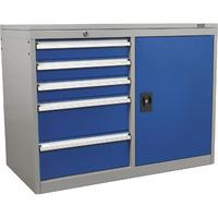 Sealey 5 Drawer Industrial Cabinet / Workstation with Ball Bearing Runners & 1 Shelf Locker