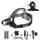 5 Modes Zoomable LED Headlight / Headlamp, Bright Cree XML L2 1800lumens Led Headlamp for Hunting / Fishing/ Riding/ Camping /Walking the Dog; Powered By Rechargeable 18650 Batteries (Included)   Free Car Charger (2157 Headlamp)