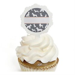 Dog Silhouettes - 12 Cupcake Picks with Stickers - Dog Party Cupcake Toppers