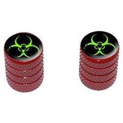 Zombie Outbreak Response Vehicle Green Biohazard - Tire Rim Valve Stem Caps - Motorcycle Bike - Red