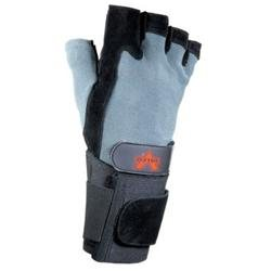 Black Split Leather Fingerless Anti-Vibe Gloves With AV GELtm Padding, Stretch Back And Wrist Wrap Cuff