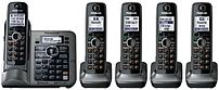 Panasonic Kx-tg155sk Dect 6.0 Link-to-cell Cordless Handset - 5 Handsets - Bluetooth - Metallic Gray
