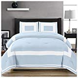 Superior Grammercy Color Blocked Comforter Set with Pillow Sham, Luxury Hotel Bedding with Soft Microfiber Shell, All Season Down Alternative Fill - Twin/Twin XL, Light Blue