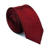 Fan-tastik Mens Eco-friendly Jacquard Weave Flouard Solid Color Skinny Tie 2'' [ 5cm ] Wine