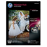 """Hp Premier Plus Photo Paper - Letter - 8.50"""" X 11"""" - 75 Lb Basis Weight - Recycled - Soft Gloss - 1 / Pack - White Cr667a"""