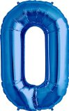 Number 0 - Blue Helium Foil Balloon - 34 inch