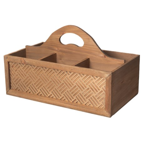 Wood And Metal Basket-weave Caddy - 15x8.5x9?
