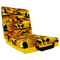 Horse Silhouette at Dawn Double Seat Cushion Yellow with Elastic Strap