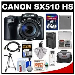 Canon PowerShot SX510 HS Digital Camera (Black) with 64GB Card   Case   Battery & Charger   Tripod   HDMI Cable   Kit