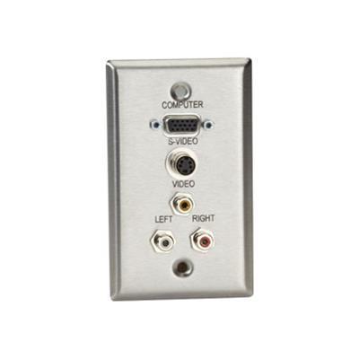 Black Box Wp803 A/v Stainless Wallplate Feed-through Coupler - Wall Plate - Hd-15  Rca X 3  4 Pin Mini-din - 1-gang