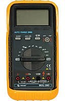 The Steren 602 270 multimeter can be used to test AC DC voltage current, resistance, capacitance and frequency