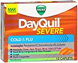 Vicks DayQuil Severe Cold Flu Max Strength - 12 Caplets, Pack of 3