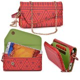 Samsung I9295 Galaxy S4 Active Case Wallet Clutch | Red Racer   Wristlet and Crossbody Chain Aztec Tribal Pattern