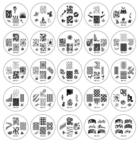 Bundle Monster 25pc Nail Art Nailart Polish Stamping Manicure Plates Image Designs Accessories Kit - 2012 Collection