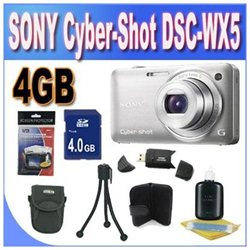 Sony DSC-WX5 Silver WX Series, 3D Sweep Panorama, Exmor R CMOS Sensor with 4GB Accessory Kit