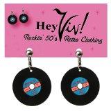 Hey Viv ! Retro Cool Record Earrings: Clip On