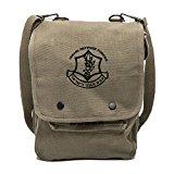 IDF Israel Defense Forces Emblem Symbol Canvas Crossbody Travel Map Bag Case in Olive & Black