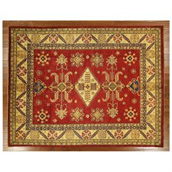 New Persian Hand Knotted Red Kazak 8x10 Wool Rug Exclusive Mesa Collection H3393