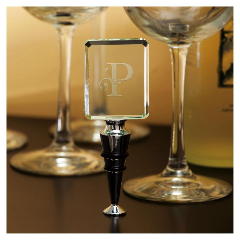 Rectangular Glass Wine Stopper, Monogram P