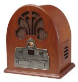 Crosley CR32CD Cathedral CD Player and Retro AM/FM Radio with Stereo Speakers (Paprika)