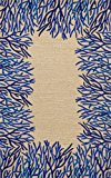 Liora Manne Spello Coral Border Rug, 5-Feet by 7-Feet 6-Inch, Cobalt