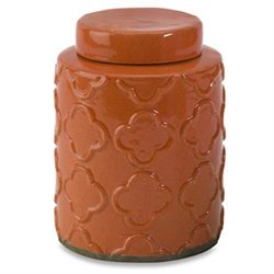 7.75 Small Spiced Pumpkin Glazed Embossed Terracotta Lidded Decorative Canister