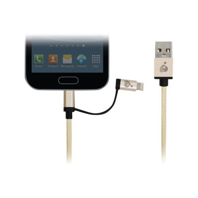Iogear Guml01-gld Duolinq 2-in-1 Charge & Sync Cable - Gold