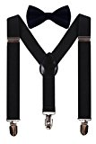 WDSKY Little Boys Black Suspenders and Bow Tie Set for Kids Baby Toddler Black