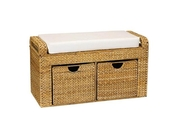 Natural Woven Banana Leaf Storage Seat with Cushio - by Household Essentials