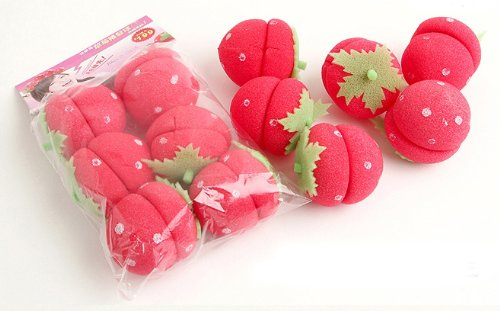 Cute Strawberry Sponge Hair Roller * 6ea