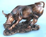 Large Antique Bronze Lucky Bull Resin Sculpture (Can Bring You Good Luck and Good Fortune). This Large Fine Antique Copper Bull Features a Handsome Base Perfect For Any Desk Display. The Naked Eye Has Captured This Sleek Bull Frozen In Time and Ready To Take on The Battle. With a Ferrous Look and Smoke Coming Out of Those Big Nostrils This Bull is Definitely Dangerous. Measurement: Approx 15.5
