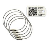 "Dynotag® 5 Ultra-tough Braided Stainless Steel 6"" Tag Loops  1 QR Smart MiniTag"